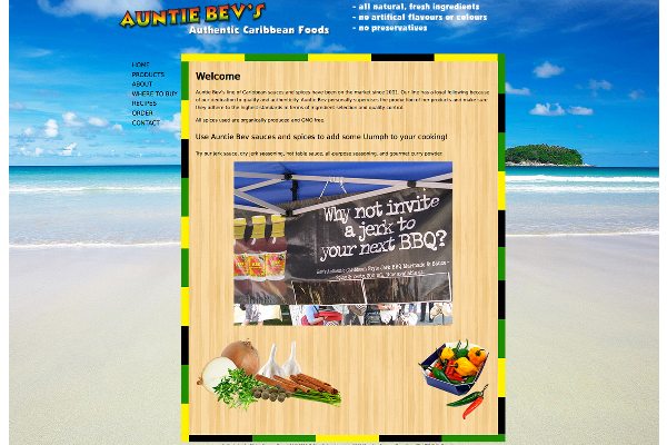 Auntie Bev's Authentic Caribbean Foods - Website